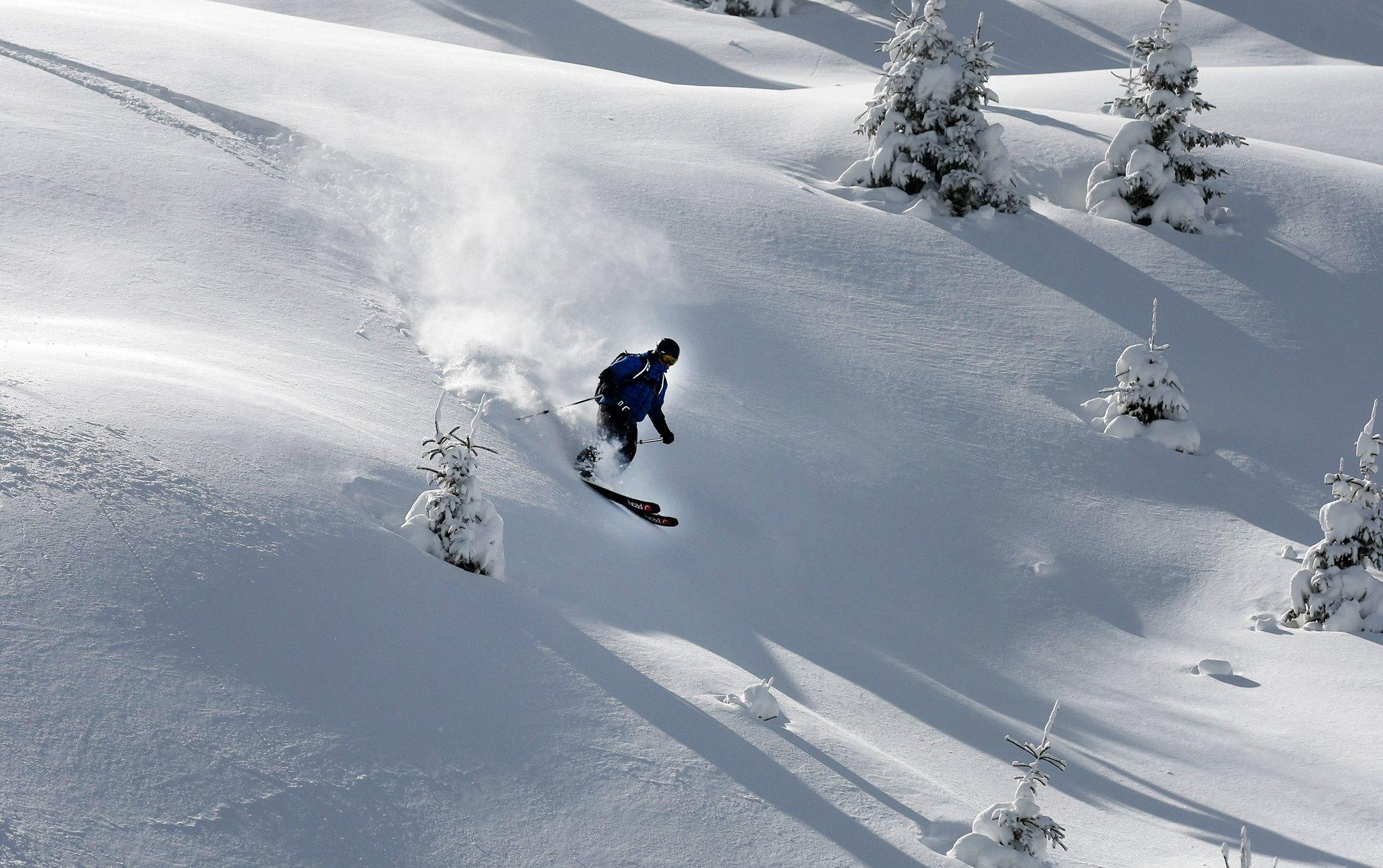Skiër in Macedonië door diepe poeder