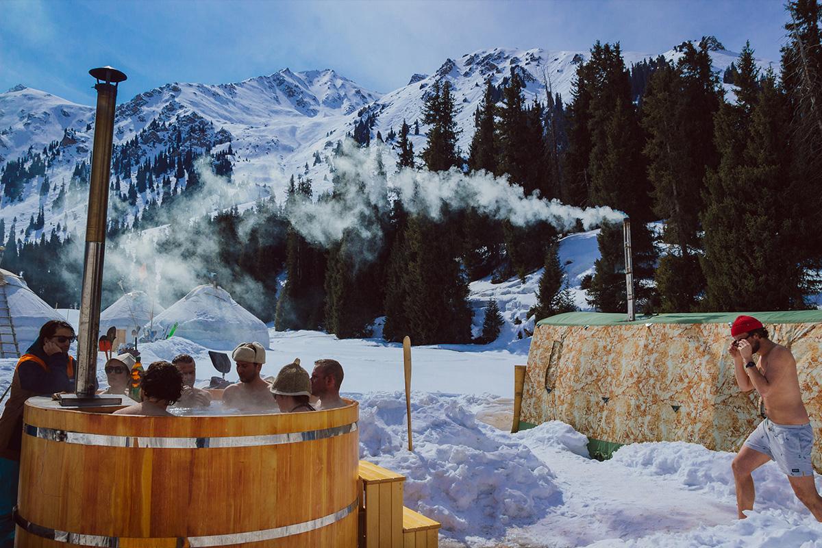 In een hottub nagenieten van het skiën of snowboarden